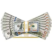 PROP MONEY Realistic Double Sided Fake Copy New Style 100 dollar bills - 10K Stack of 100's Plus FREE Bank Strap. Film Props Pretend Play Party Decoration Fancy Dress Casino Games Supreme Cash Gun