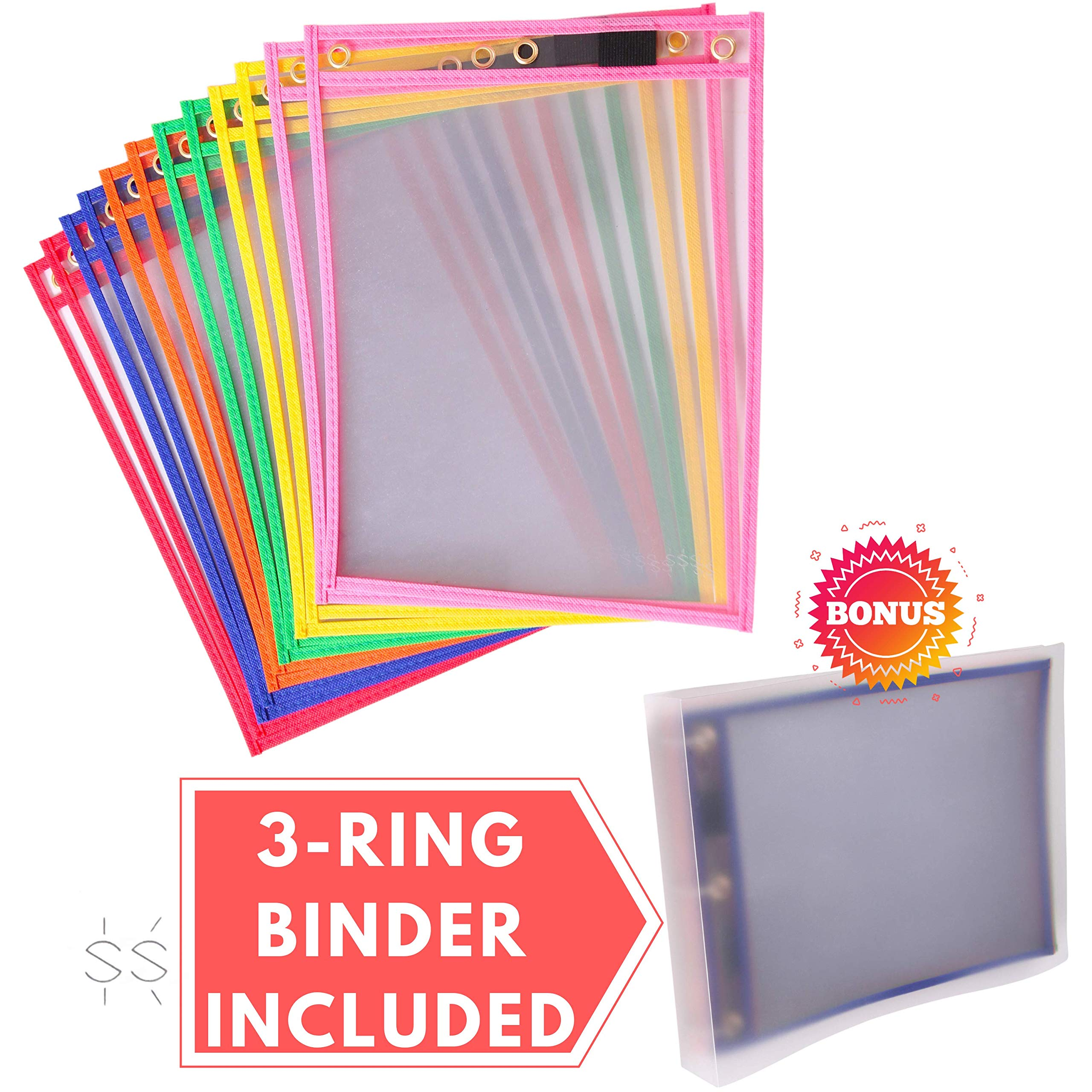 Dry Erase Pockets [10 x 13 inches] with Clear 3-Ring Binder [11 x 14 inches] | Pack of 12 Reusable Dry Erase Sleeves | Heavy Duty Job Ticket Holder | 6 Different Colors |