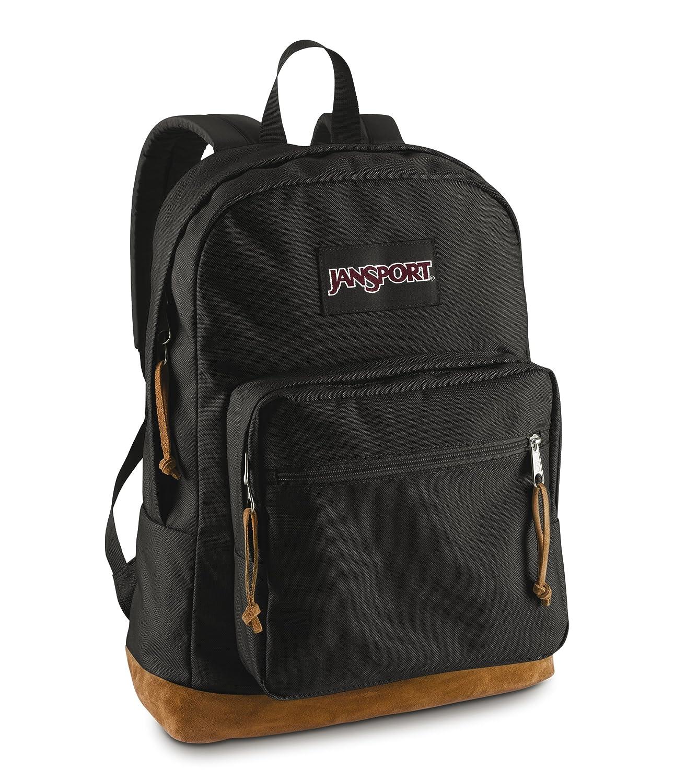 JanSport Backpack Black Suede Leather Bottom Laptop Travel School ...