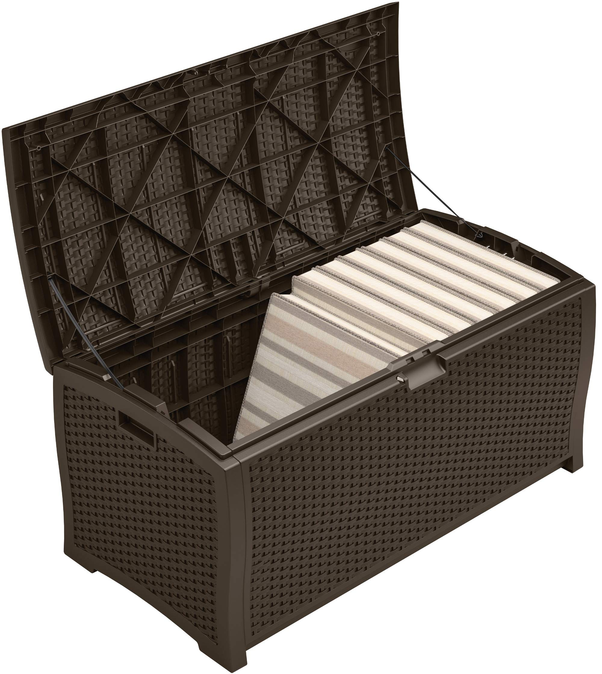 Suncast 99 Gallon Resin Wicker Patio Storage Box - Waterproof Outdoor Storage Container for Toys, Furniture, Yard Tools - Store Items on Deck, Porch, Backyard - Mocha by Suncast (Image #5)