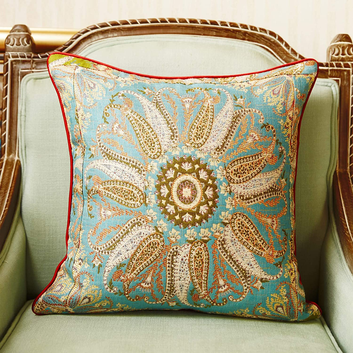 Besalily Bohemian Rose Series Double-Sided Jacquard Throw Pillow Case Pillow Sham Cushion Cover 45x45cm (18x18inch) for Sofa Couch Home Decoration