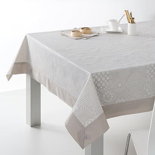 ESTELA - Mantel Jacquard con Aplique LLANES Color Lino - 155x155 cm. - Incluye servilletas - 280% Algodón / 20% Lino / 50% Poliéster: Amazon.es: Hogar