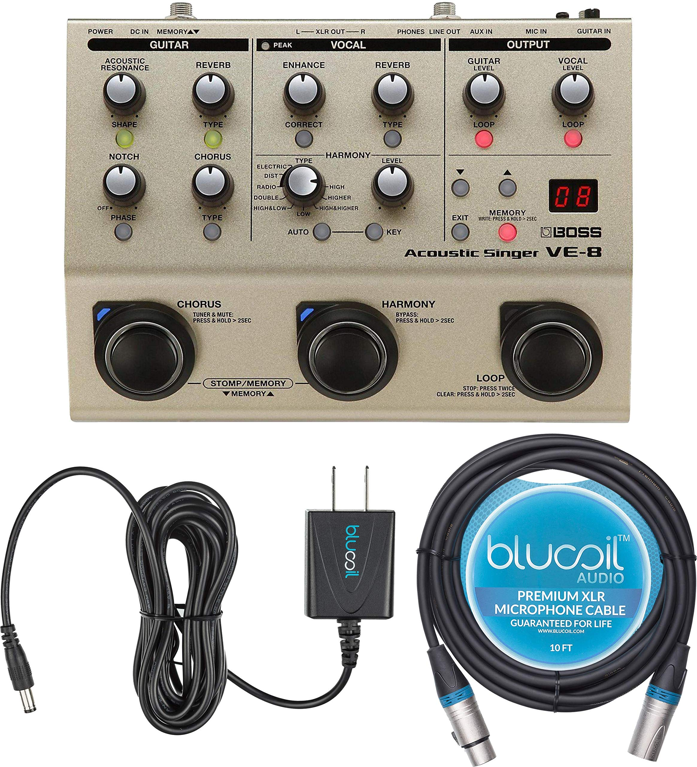 BOSS VE-8 Acoustic Singer Bundle with Blucoil 10-FT XLR Microphone Cable and Slim 9V 670ma Power Supply AC Adapter