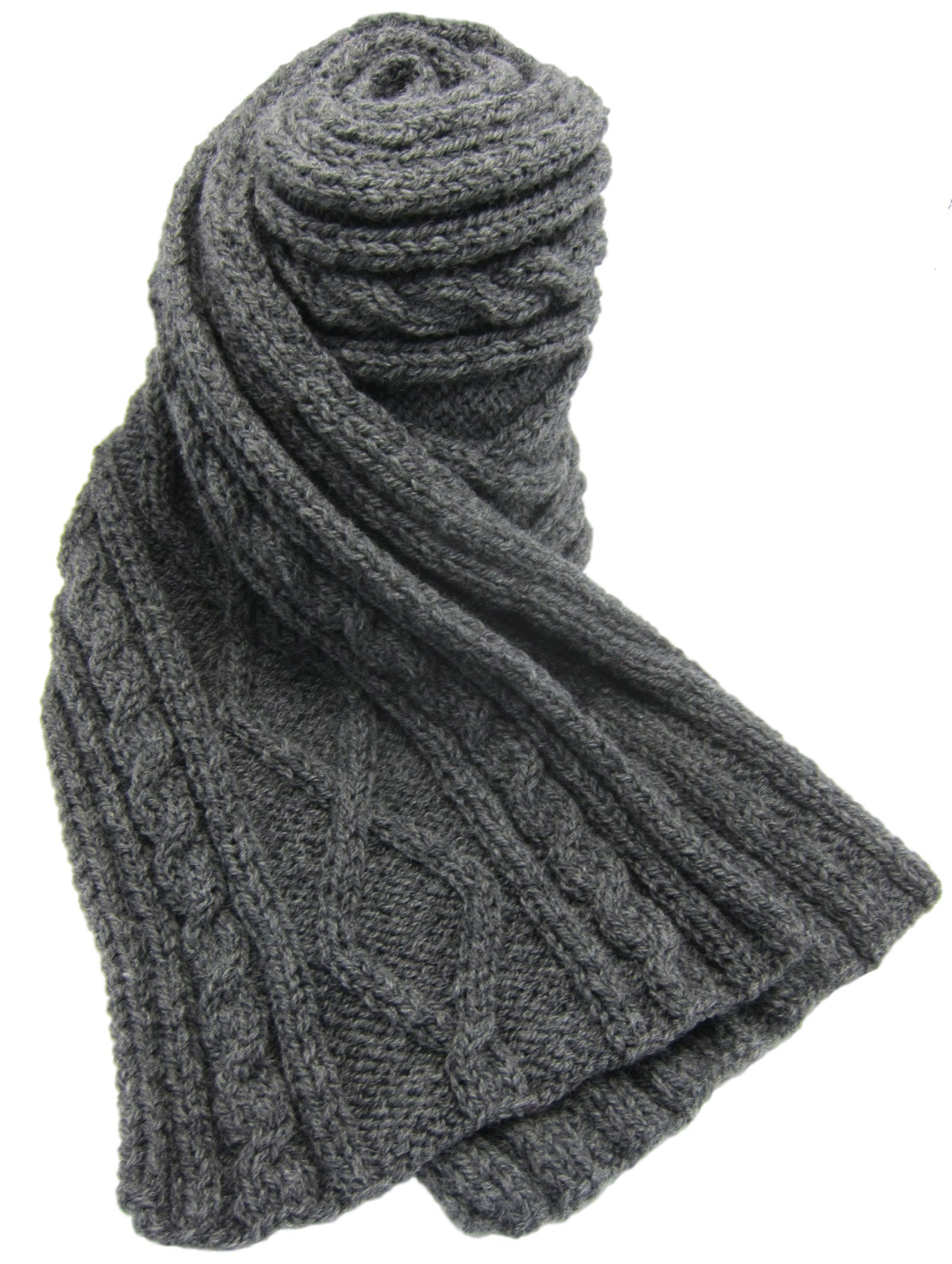 Handmade by Artisan Pure Wool Scarf - Knitted 100% By Hand - Charcoal Gray (75 inches long!/Clever Gift idea for Men)