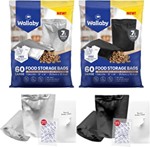 60 Wallaby Mylar Bag Bundle - 1 Gallon Stand-Up Zipper Pouches - (7 Mil-10''x14''), Oxygen Absorbers, Labels - Resealable Zipper, Heat Seal, FDA Grade, for Long Term Food Storage (Silver and Black)