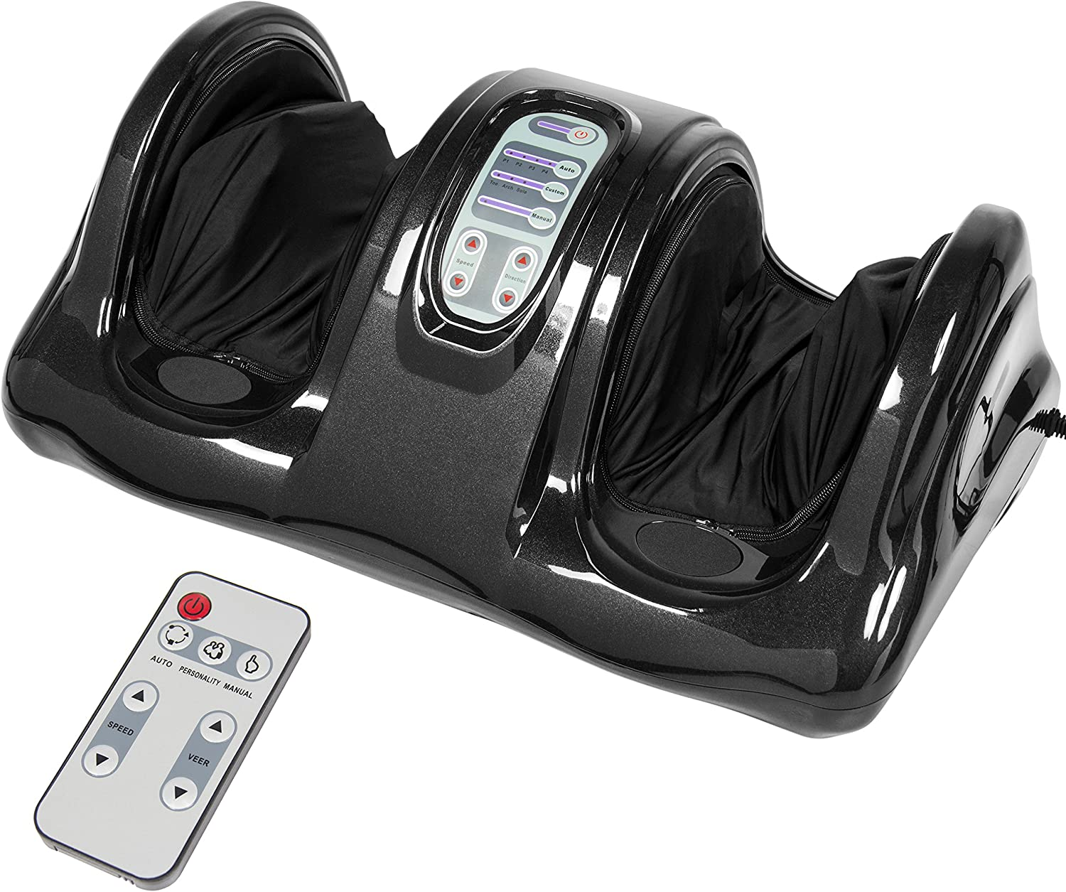 Best Choice Products Therapeutic Kneading and Rolling Shiatsu Foot Massager for Foot, Ankle, Nerve Pain w/ High Intensity Rollers, Remote Control, 4 Programs, 3 Massage Modes - Black