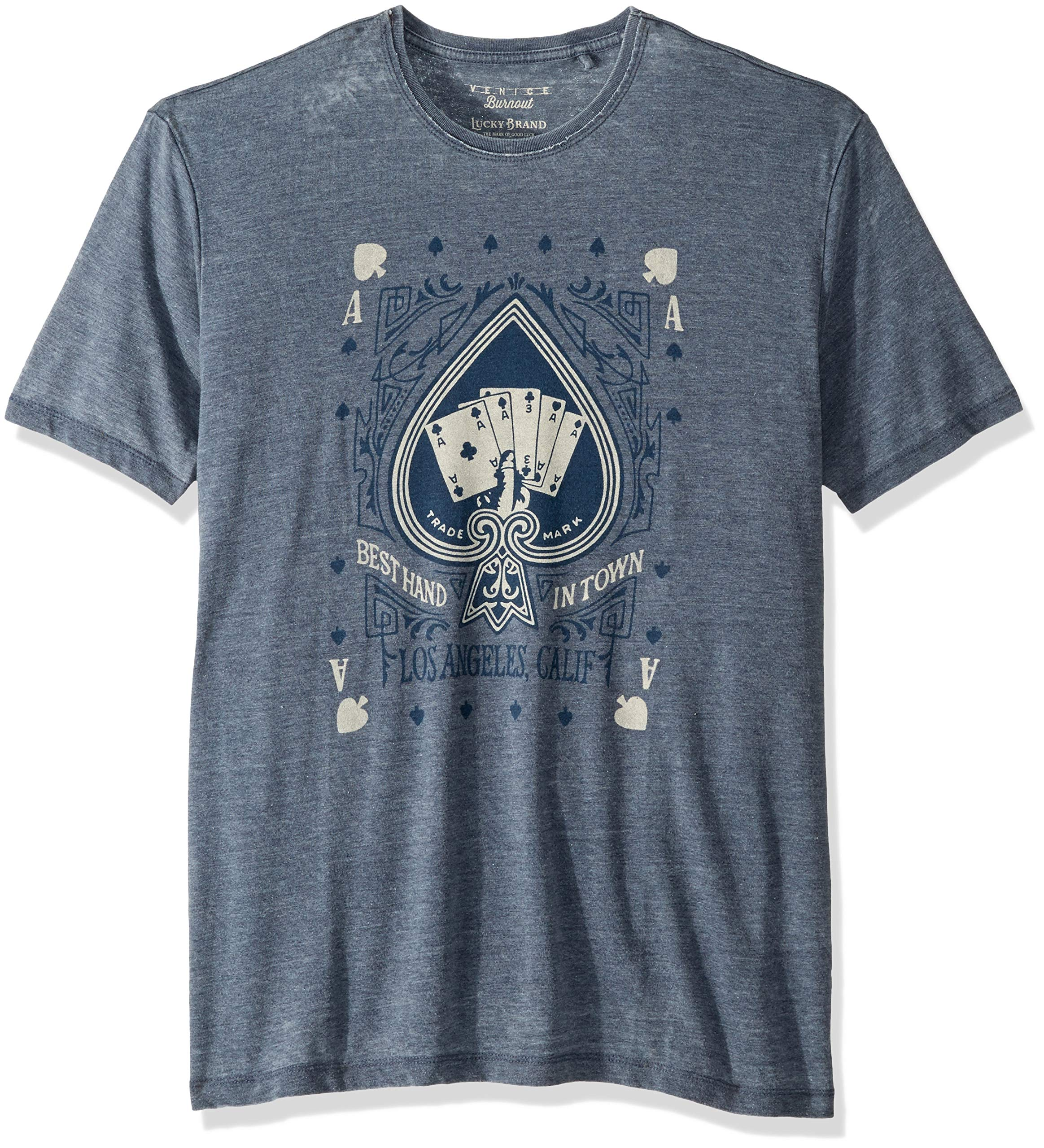 Lucky Brand Men's Winning Hand Graphic TEE, American Navy, XXL
