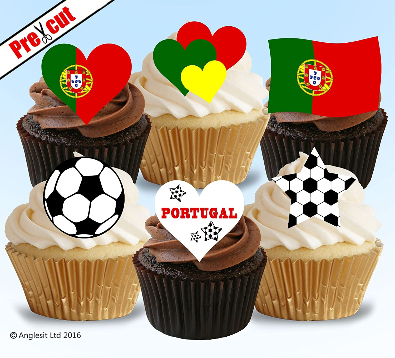 PRECUT England Football Shirt Cupcake Toppers Cake Decorations