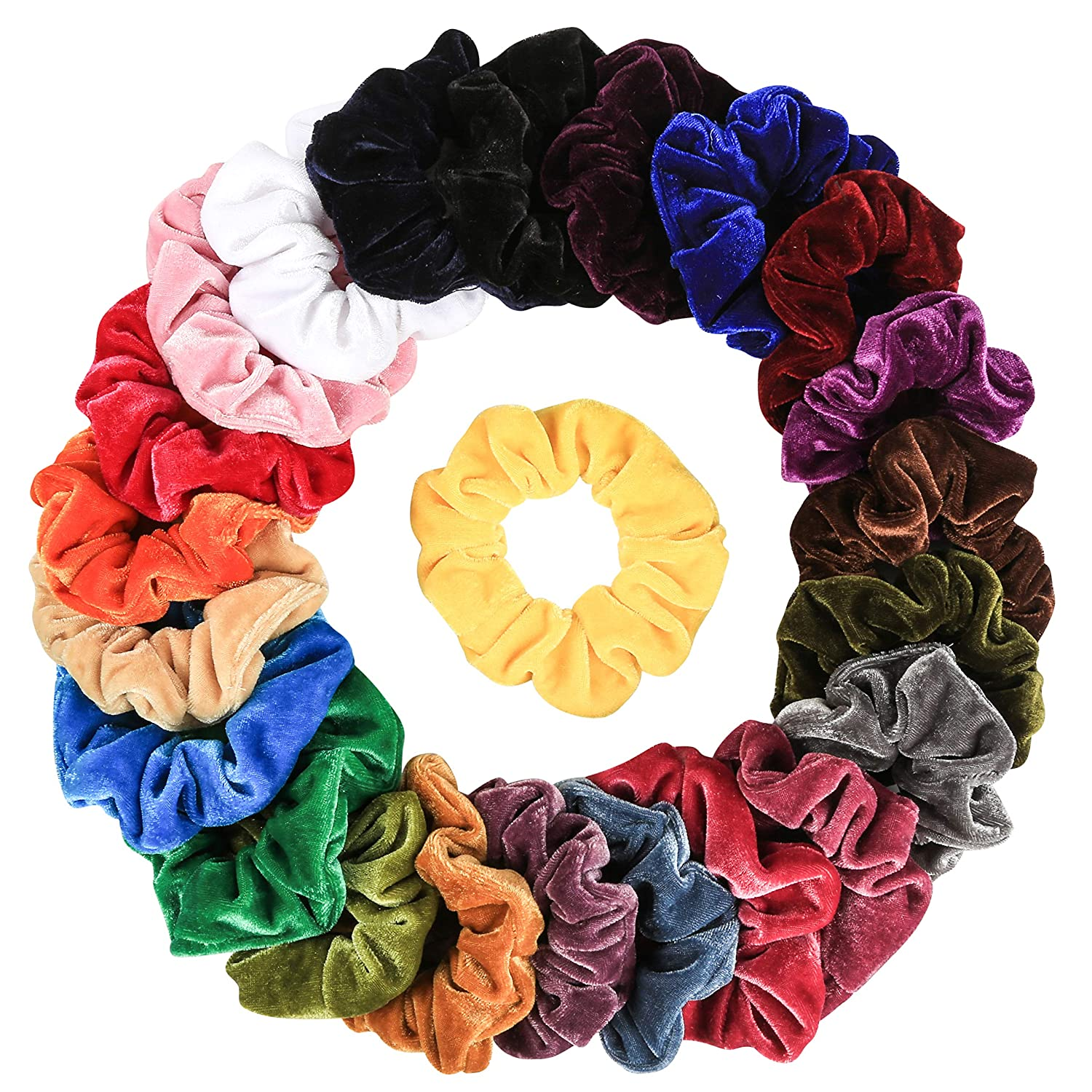 386135ff3587 Amazon.com : 23 Pcs Hair Scrunchies Velvet Elastic Hair Bands Scrunchy Hair  Ties Ropes Scrunchie for Women or Girls Hair Accessories - 23 Assorted  Colors ...