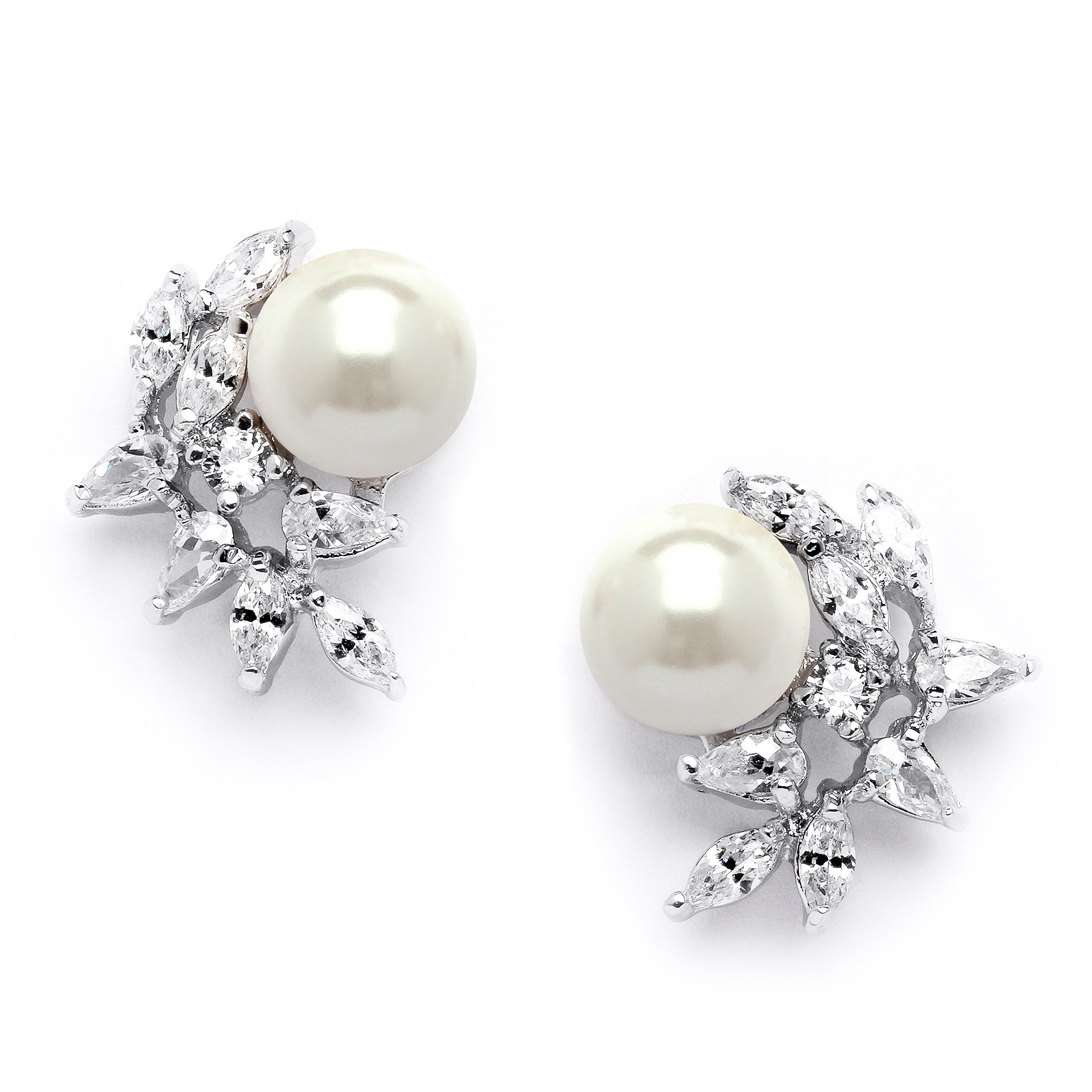 Mariell Ivory Pearls and CZ Cluster Wedding Earrings for Brides, Bridesmaids & Mother of the Bride by Mariell