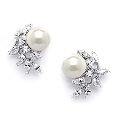 Amazoncom Mariell Ivory Pearls and CZ Cluster Wedding Earrings for