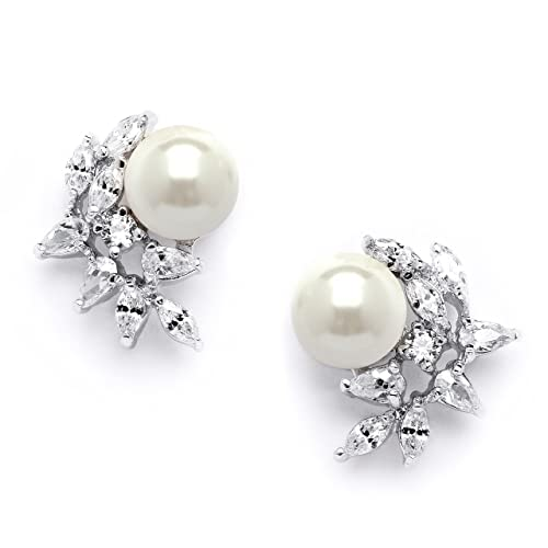 Mariell Ivory Pearls CZ Cluster Clip On Wedding Earrings for Brides, Bridesmaids Mother of the Bride
