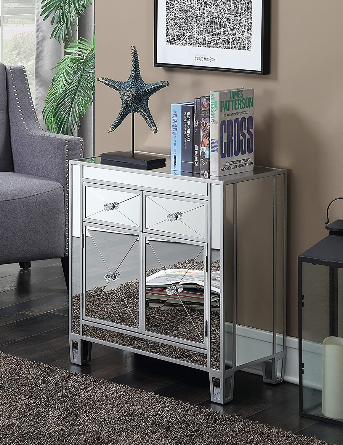 Convenience Concepts Gold Coast Vineyard 2-Drawer Mirrored Cabinet, Silver
