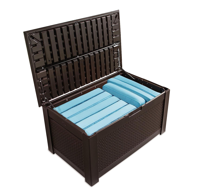 amazoncom rubbermaid trunk patio chic outdoor storage dark teak basket weave patio lawn u0026 garden