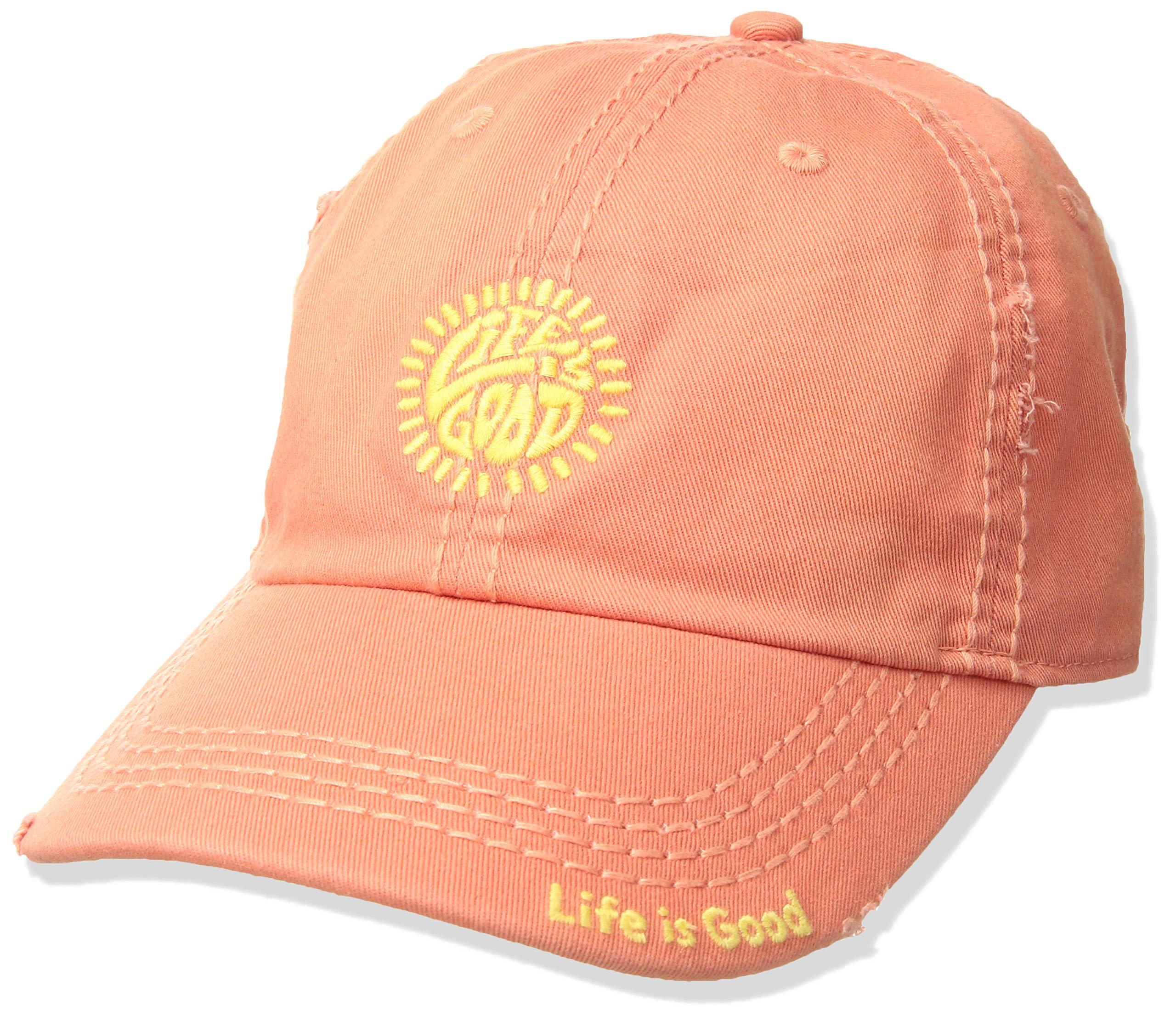 Life is Good Unisex Sunwashed Chill Cap Sunshine lig, Fresh Coral, One Size