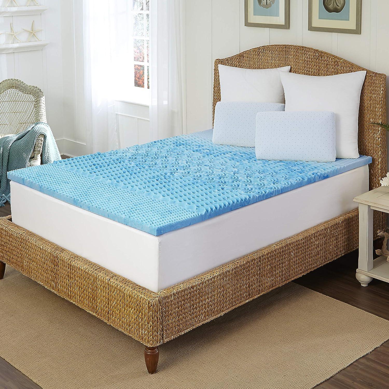 ARCTIC Sleep by Pure Rest MFT-406-8CK_M 5 Zone Marbleized Gel Memory Foam Topper-CK, 1.5 inch, Blue