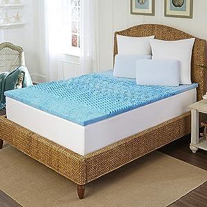Arctic Sleep by Pure Rest 5 Zone Marbleized Gel Memory Foam Topper-T, 1.5 inch, Blue
