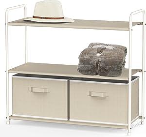 Simple Houseware 3-Tier Closet Storage with 2 Drawers, Beige
