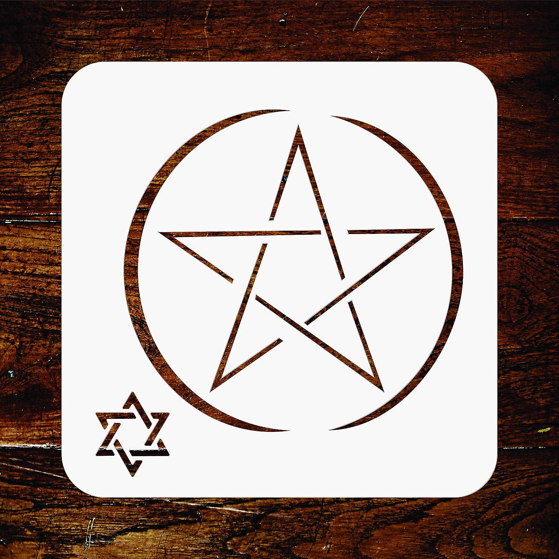 ダビデの星ステンシル - 再利用可能な宗教的なユダヤ教の魔法 David 壁ステンシルテンプレート - ペーパープロジェクト、スクラップブックジャーナル、壁、床、ファブリック家具、ガラスなどに M CS1540M B07P3TBVSZ  M