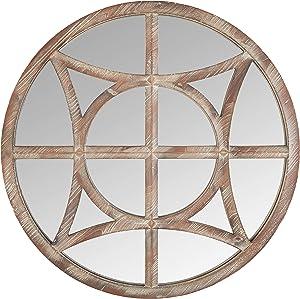 Amazon Brand - Stone & Beam Vintage Compass Wooden Accent Mirror, 28