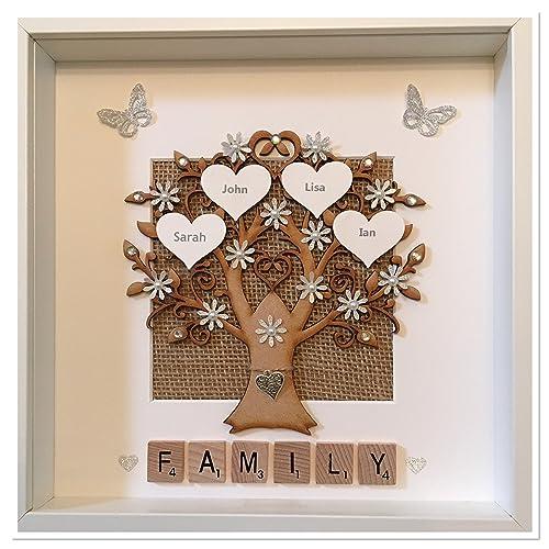 Personalised Scrabble Family Tree 3D Box Frame Keepsake Wedding Gift Home Christmas Birthday Anniversary Mothers Day & Personalised Scrabble Family Tree 3D Box Frame Keepsake Wedding ... Aboutintivar.Com