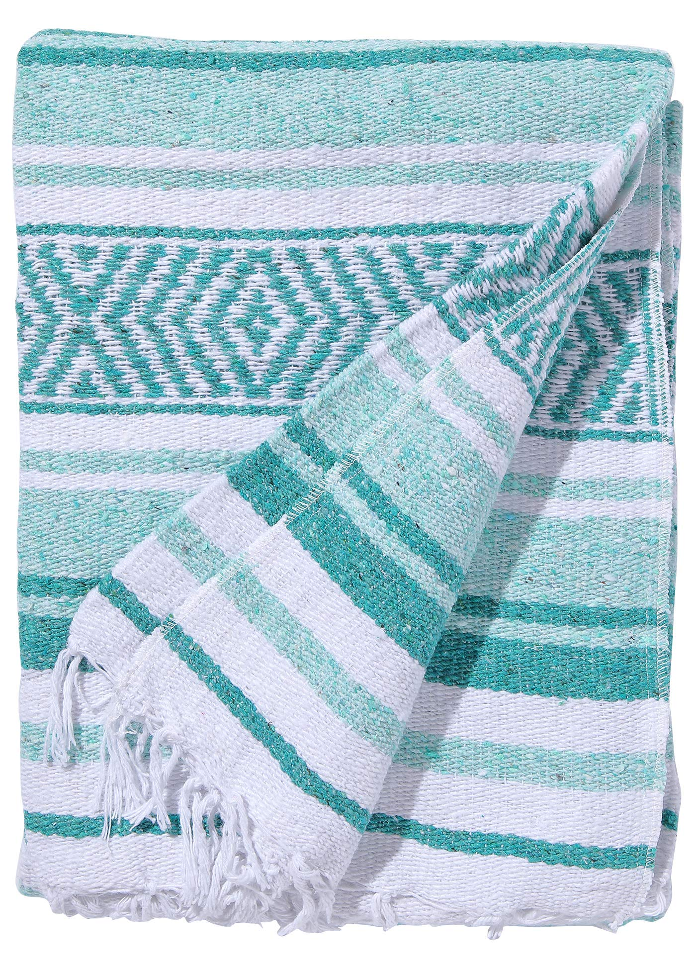 El Paso Designs Mexican Yoga Blanket Colorful 51in x 74in Studio Mexican Falsa Blanket Ideal for Yoga, Camping, Picnic, Beach Blanket, Bedding, Home Decor Soft Woven (Cancun)