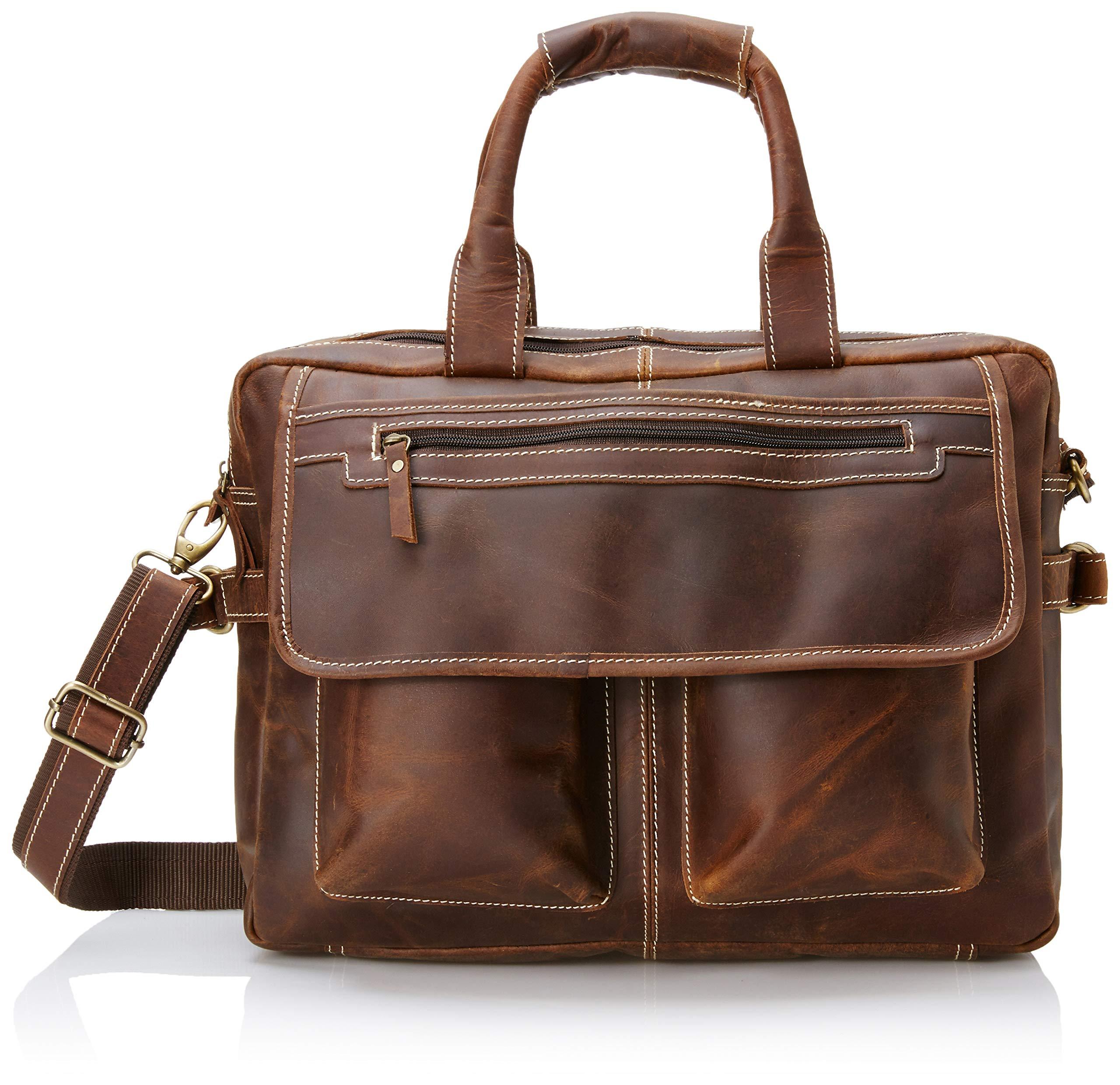 16 inch Vintage Buffalo Leather Messenger Satchel Laptop Briefcase Men's Bag Crazy Vintage Leather Messenger (Brown) by Ruzioon (Image #1)