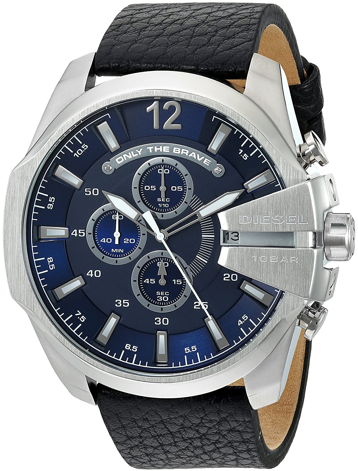 628f7036b79 Men s Mega Chief Quartz Stainless Steel and Leather Chronograph Watch