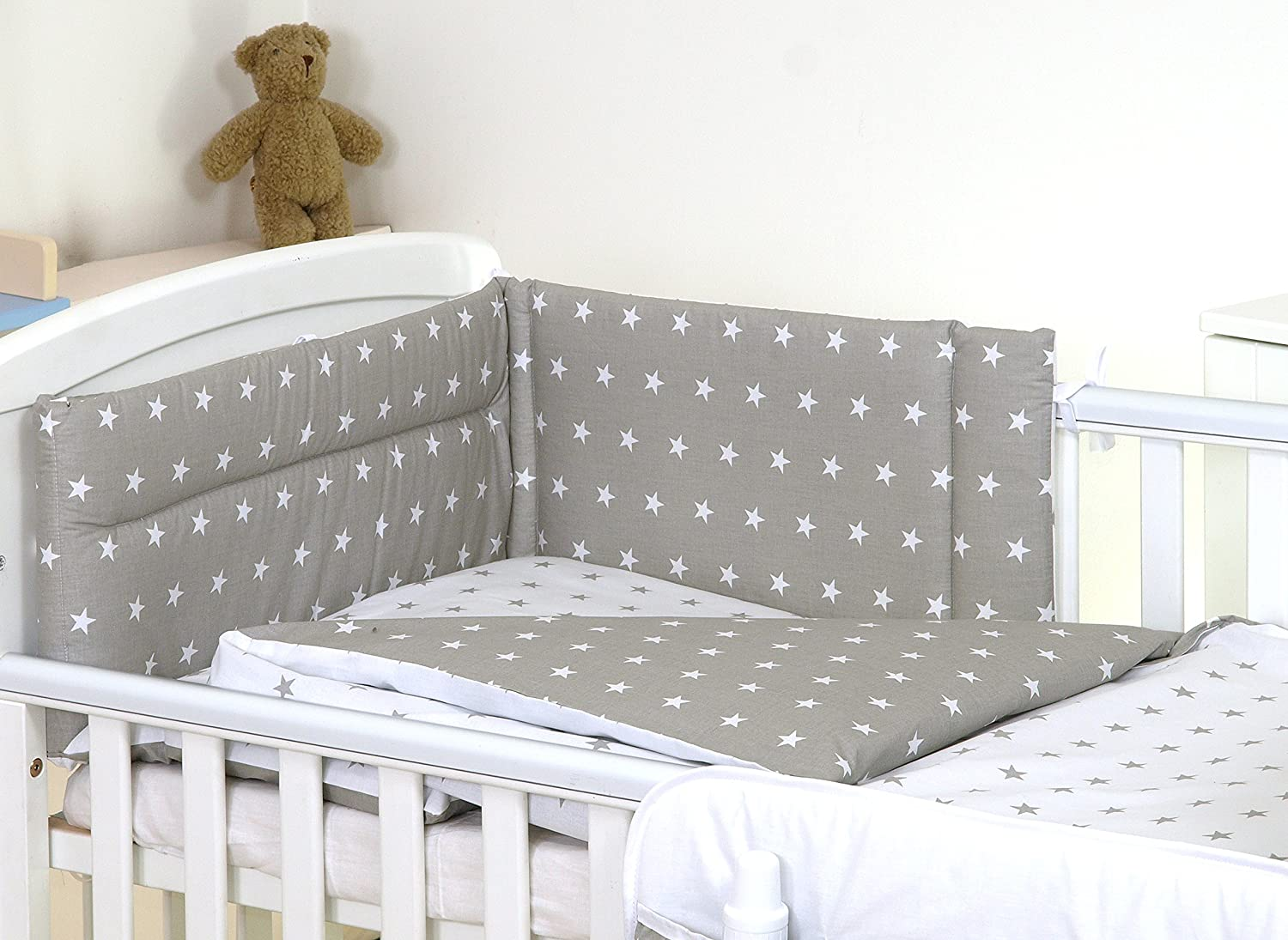 5 pc Baby Bedding Set for Cot 120X60 Or Cot Bed 140X70cm Inc -Duvet+Pillow+Duvet Cover+Pillow CASE+ Bumper (Cot 120X60, Blue Stars - Reversible) SCANDI BEDDING LIMITED