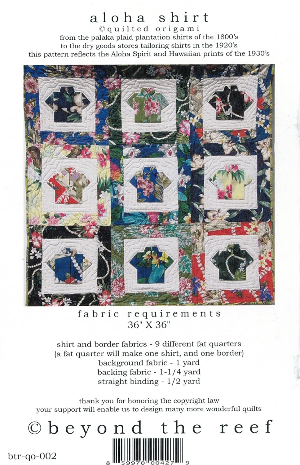Aloha Shirt Quilted Origami Fat Quarter Friendly 36x36 Finished Size Applique