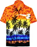 LA LEELA Shirt Casual Button Down Short Sleeve Beach Shirt Men Aloha Pocket 214