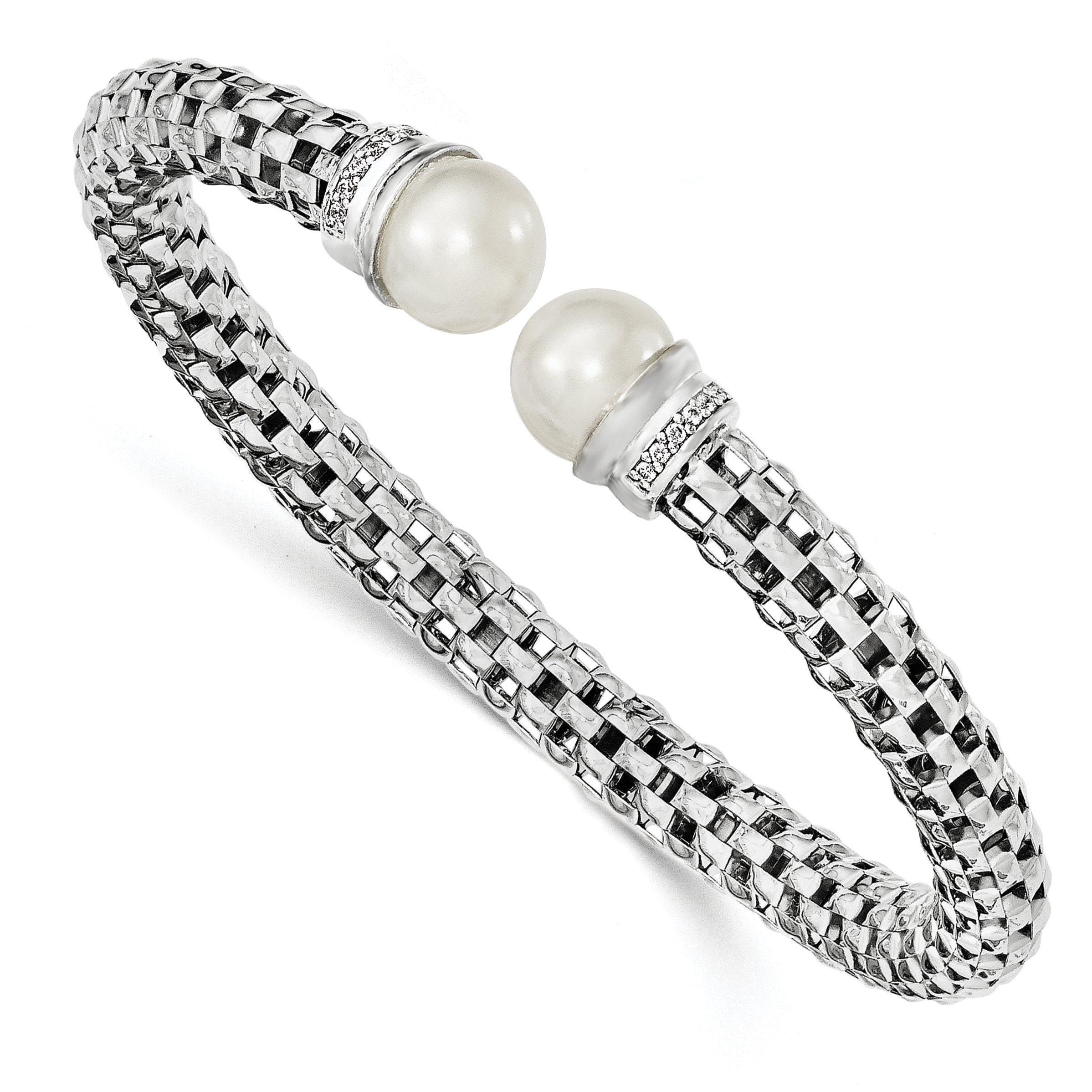 ICE CARATS 925 Sterling Silver Rhod Plated Freshwater Cultured Pearl Cubic Zirconia Cz Cuff Bangle Bracelet Expandable Stackable For Women