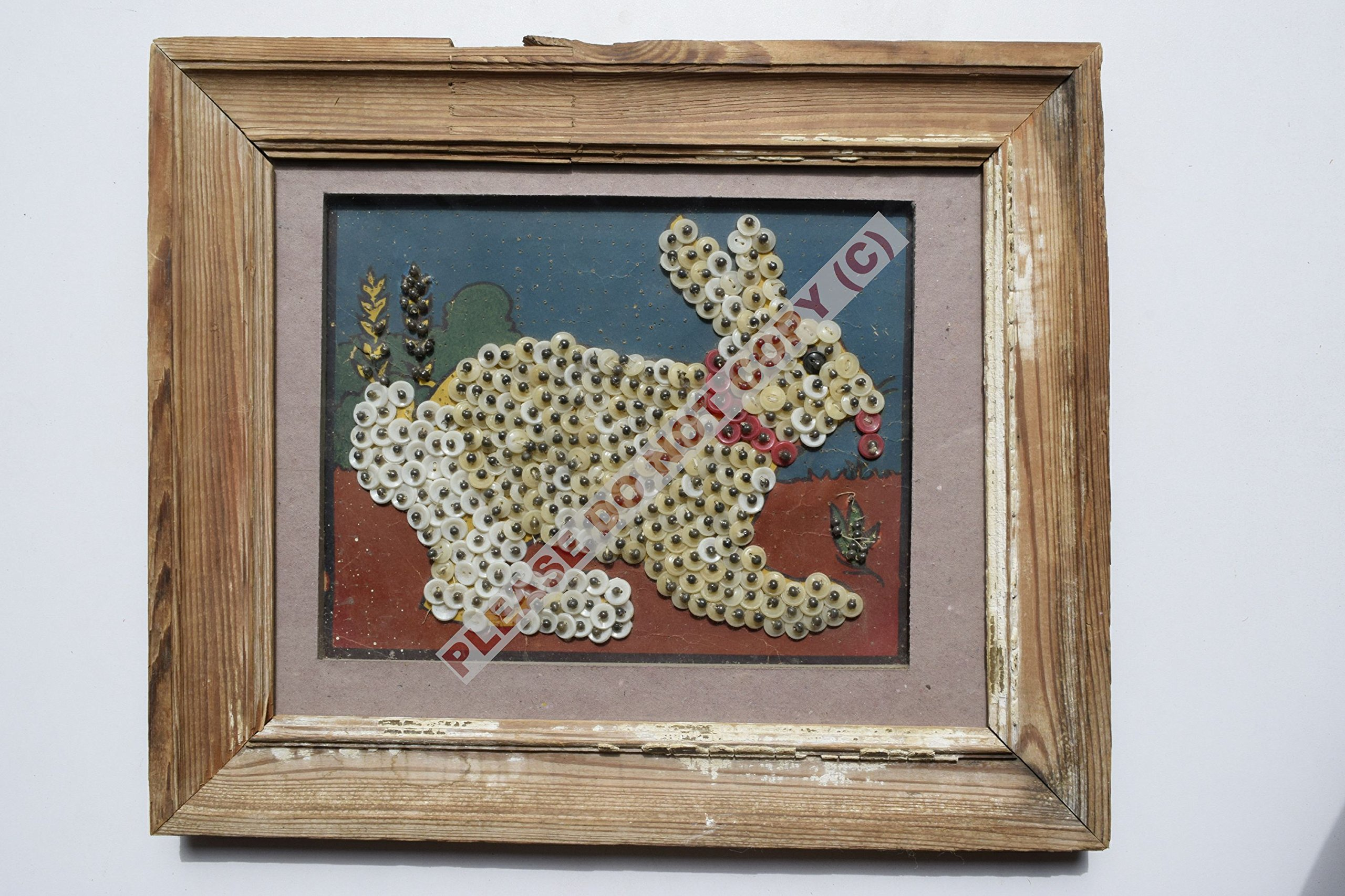 Rare Collectible Antique Old Collectible Handmade Craft Rabbit in Old Vintage Wooden Frame India