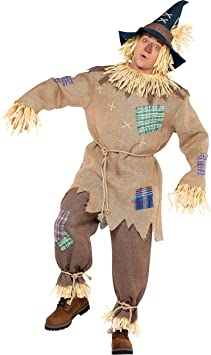 amscan- Brown Mr. Scarecrow Costume with Pointed Hat for Adults ...
