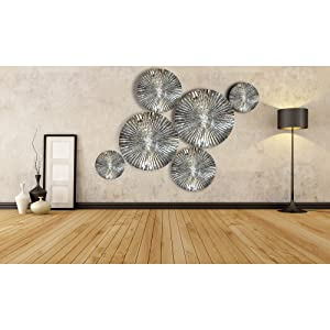 Decorlives Set of 6 pcs Mirror Finish Sunburst Aliminium Wall Sculpture Decorative Wall Hanging Art