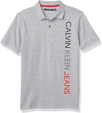 Calvin Klein Boys' Short Sleeve Vertical Logo Polo