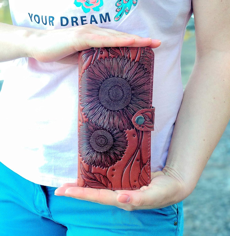 74ffd0e833a8 Woman Wallet Sunflower Wallet Handmade Top Grain Leather Large ...