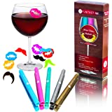 Wine Glass Markers Set - 5 Premium Washable and Non Toxic Glass Pens - THE ONLY SET that Comes With 10 Silicone Reusable Wine Glass Charms - Wine Accessories - Satisfaction Guarantee - by Funtast Ink