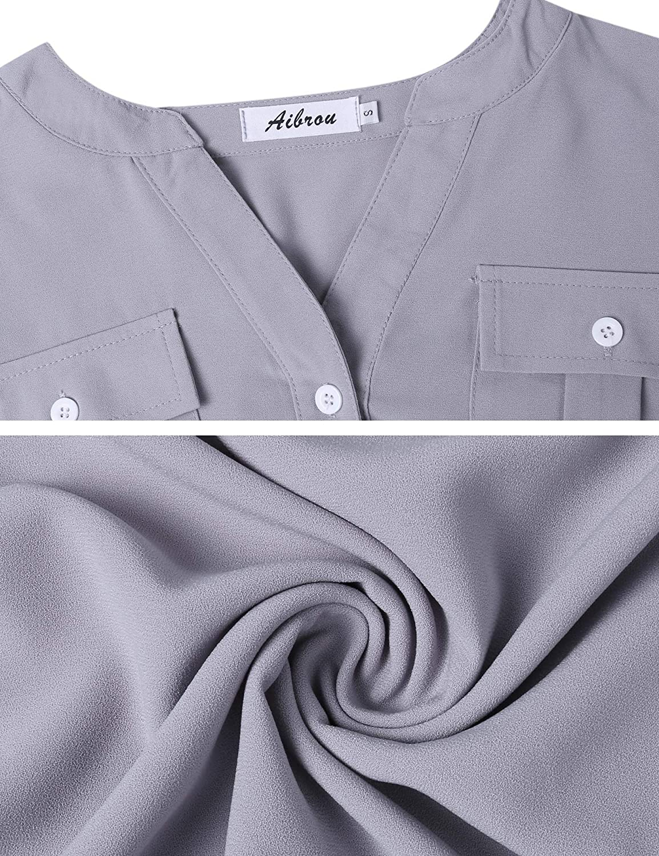 Aibrou Mujer/ Camisa Doble Cuello En V Blusas de Manga Larga Casuales Tops