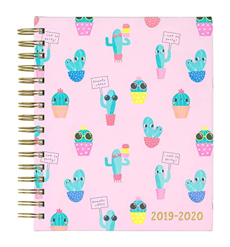 "2019-2020 Eccolo Spiral Agenda Planner, Pink Cactus ""Id Like to Party"", Hardcover, Weekly & Monthly Views, 18 Months, Sticker Sheets, Full Color ..."