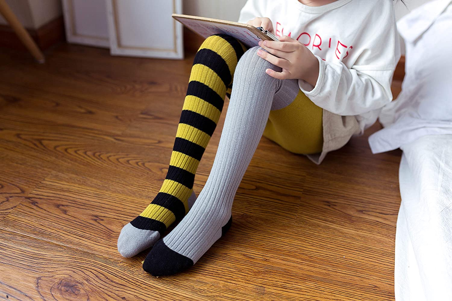 Baby Kid Girl Odd Striped Rib Pattern Cotton Tight Age 12-24M 2 3 4 5 6 7 Years