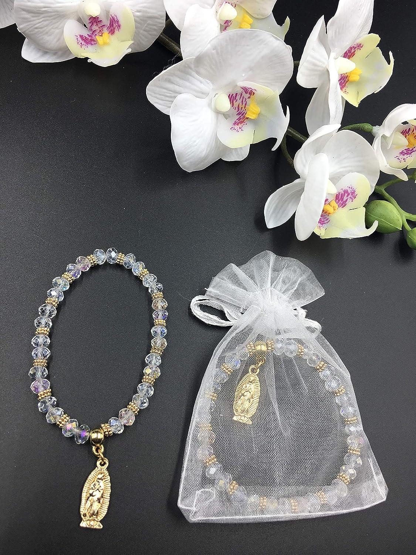 Amazon.com: 12 pulseras de cristal con diseño de rosario de ...