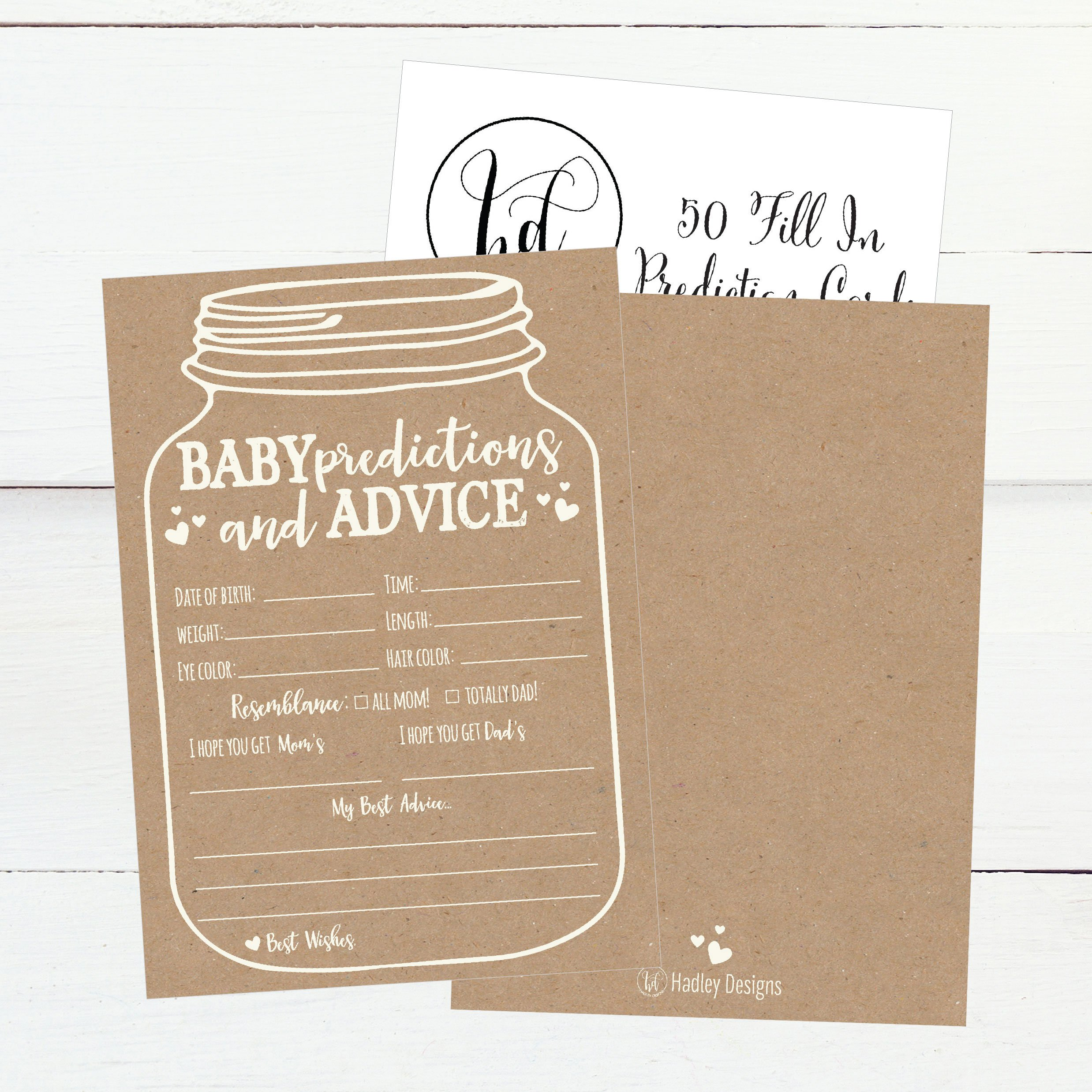 50 Mason Jar Advice and Prediction Cards for Baby Shower Game, New Mom & Dad Card or Mommy & Daddy To Be, For Girl or Boy Babies, New Parent Message Advice Book, Fun Gender Neutral Shower Party Favors by Hadley Designs (Image #4)
