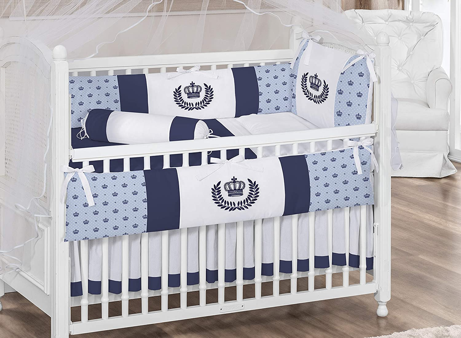 Royal Crown Theme Blue Baby Boy 07 Pcs Nursery Embroidered Crib Bedding Set Bumpers + Sheet Set