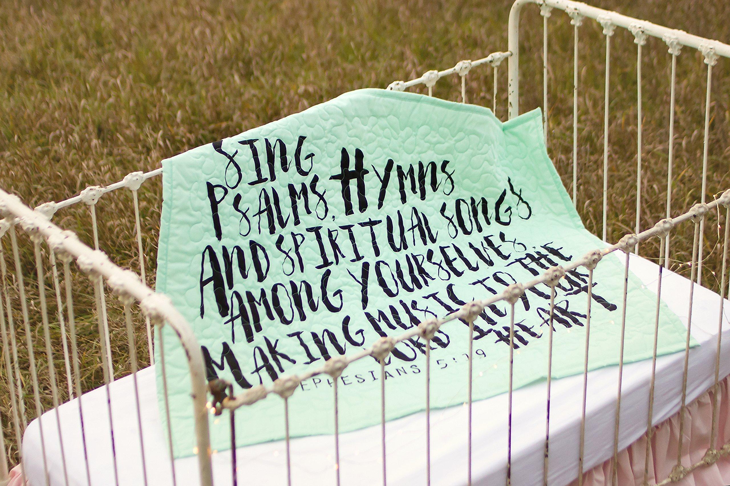 Psalms Turquoise - Linen Crib Quilt Baby Bedding - 36x45