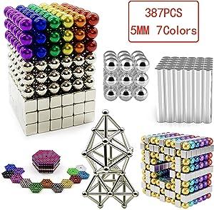sunsoy 5 MM 387 PCS Magnetic Balls, Rare Earth Magnetic Desktop Toys Cool Stress Reliever Imagination Development