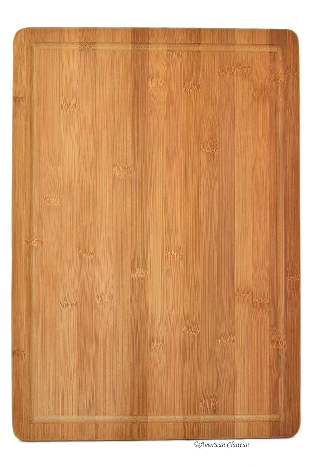 20 x 14 Large Natural Bamboo Butcher Block Cutting Board with Drip Groove American Chateau