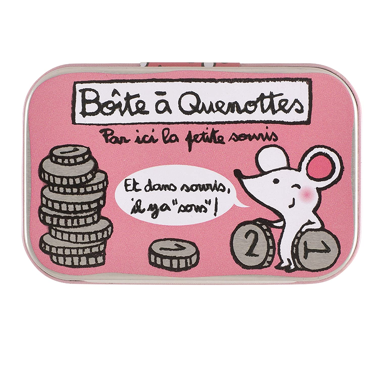 Derrière la Porte Louloute - Cajita para dientes de leche, diseño de ratón y monedas, con texto en francés DERRIERE LA PORTE