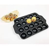 Hinomaru Collection Cast Iron Takoyaki Pan Savory Octopus Balls Griddle Maker Mold Pan 20pc Rectangular