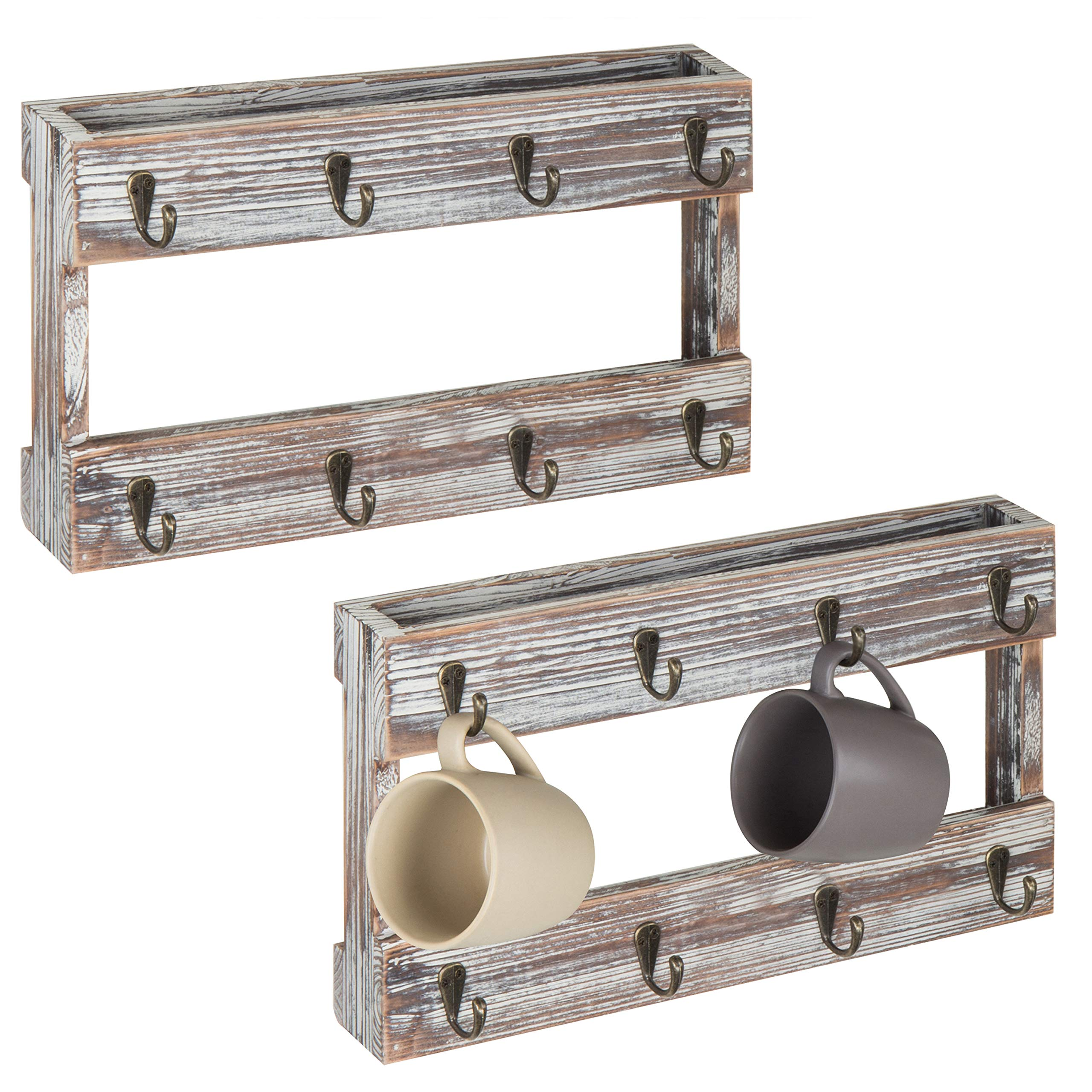 MyGift Wall-Mounted Torched Wood 8-Hook Coffee Mug Hanging Rack, Set of 2 by MyGift